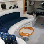 blue interior canvas below deck