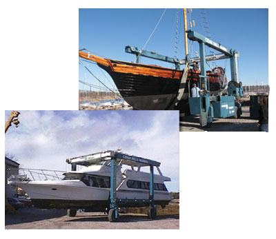 travel lifts on cedar mills marina yard